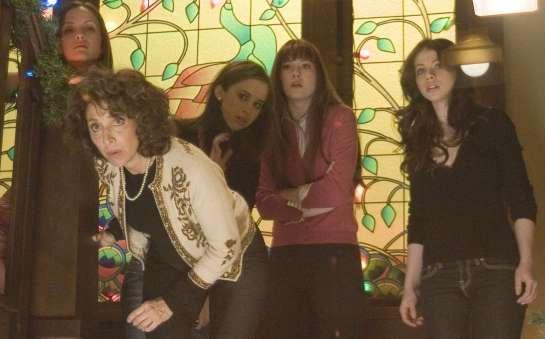 Crystal Lowe (Lauren), Andrea Martin (Ms Mac), Lacy Chabert (Dana), Mary Elizabeth Winstead (Heather) and Michelle Trachtenberg (Melissa) star in Glen Morgan's BLACK CHRISTMAS.