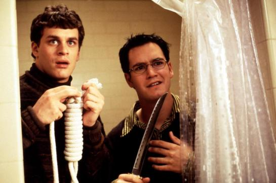 DEAD MAN ON CAMPUS, Tom Everett Scott, Mark Paul Gosselaar, 1998, weapons